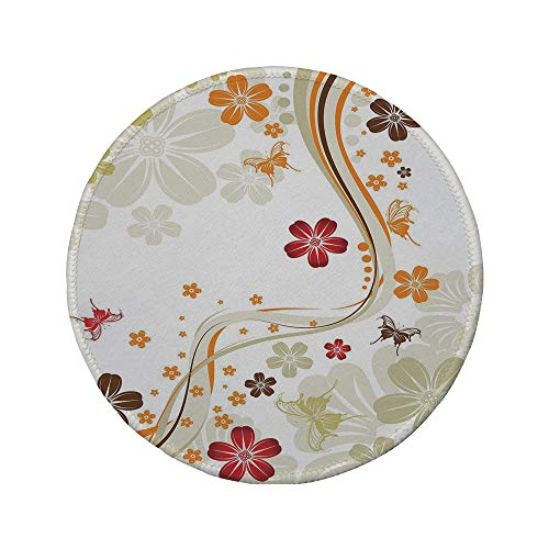 Non-Slip Rubber Round Mouse Pad,Floral,Swirling Florets Fragrance Botanical Beauty with Wavy Lines Butterflies Spring Theme,Multicolor,7.87