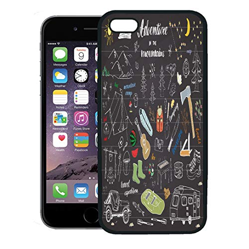 Semtomn Phone Case for iPhone 8 Plus case Cover,Camping Hiking Sketch Doodle Mountains Tent Raft Grill and Campfire Axe Knife Pine Trees Tourist Food,Rubber Border Protective Case,Black ()