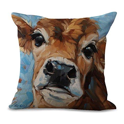 Zehui 45x45cm Cotton Linen Pillow Case Home Bedding Sofa Decorative Cushion Cover Cow Print Pillowcase #2