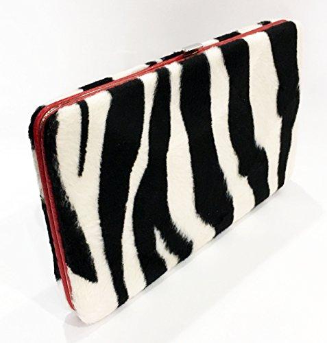Faux Zebra Genuine Flat Clutch Wallet (Red Trim) -