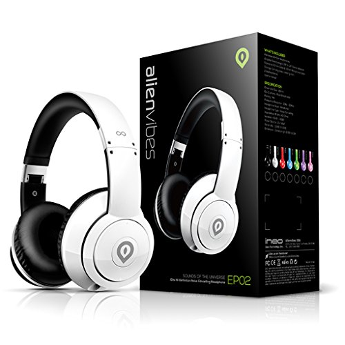 Alienvibes EP02WT Active Noise Cancelling Headphone with Inline Microphone & Control, 40mm High Definition Drivers - (Planet White Headphone)