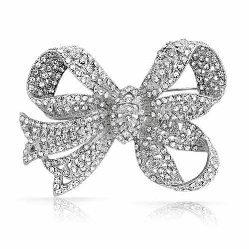 - Bling Jewelry Large Bow Ribbon Shape Pave Crystal Wedding Bridal Brooch Pin for Women Silver Tone Rhodium Plated Brass