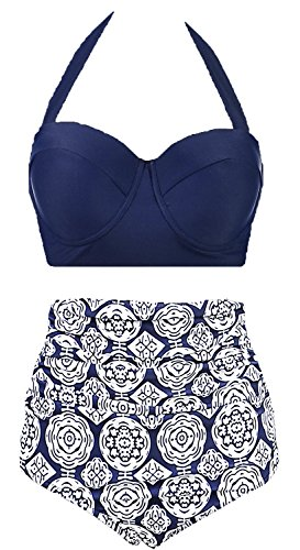 Amourri Vintage Polka Underwire High Waisted Swimsuit Bathing Suits Bikini,Navy Blue,US 10-12=Tag Size 2XL