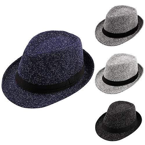 Feitong Vintage Winter Pork Pie Hat with Grosgrain Band Jazz Hat Warm Cap Women Men Gray ()