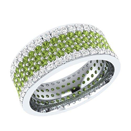 BB Jewels 5Carat Round Cut Simulated Diamond Engagement and Wedding Eternity Band Ring 14k Yellow Gold Finish (Peridot w/Simulated Diamond)