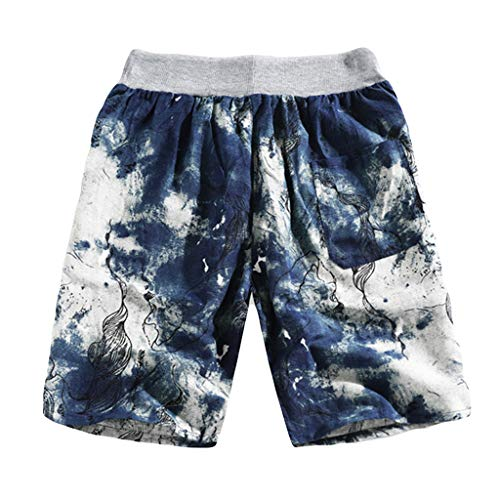 kaifongfu Printed Shorts, Mens Summer Casual Ethnic Style Printed Loose Linen Beach Hot Shorts Pants Flower Holiday(Blue,XXXXL)