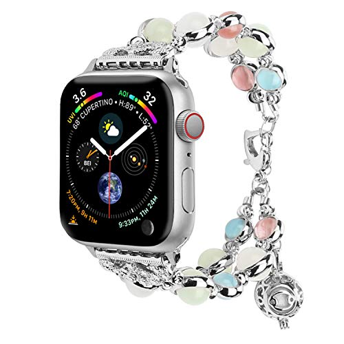 - TILON for Apple Watch Band 42mm 44mm Series 4/3/2/1, Adjustable Wristband Handmade Night Luminous Pearl iWatch Bracelet with Essential Oil/Perfume Storage Pendant for Women/Girls(Silver)