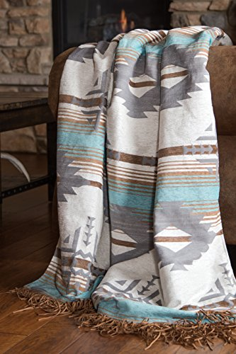 Carstens Lined Chenille Throw Blanket with Faux Shearling Back, Badlands Collection w