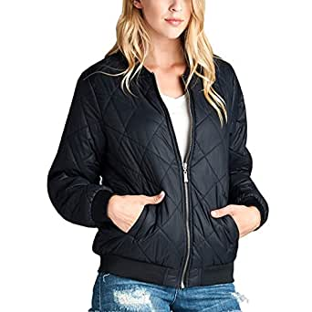 Fashionazzle Women's Solid Classic Quilted Short Bomber Jacket Padded Coat (Small, BMJ04-Black)