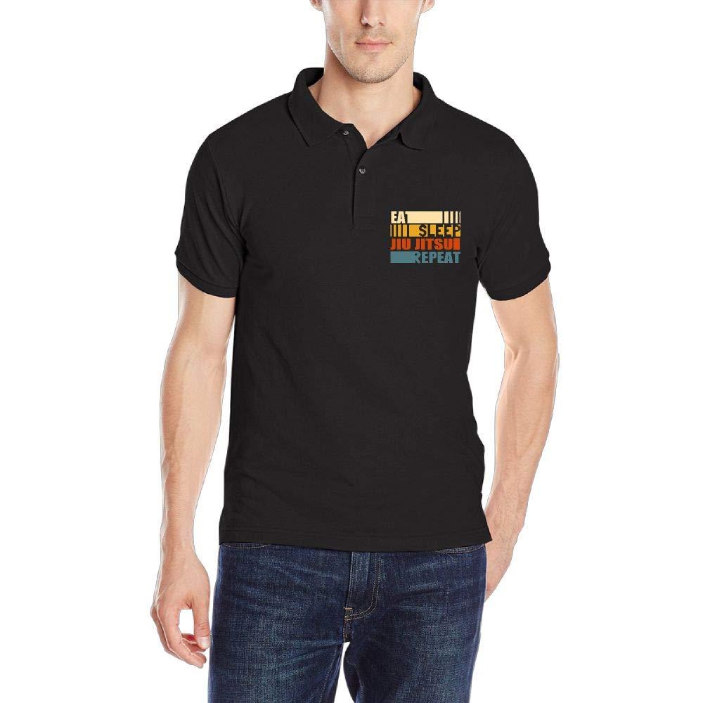 Men's Cotton Short-Sleeve Collar Polo T-Shirt Eat Sleep Jiu Jitsu Repeat Classic Tee