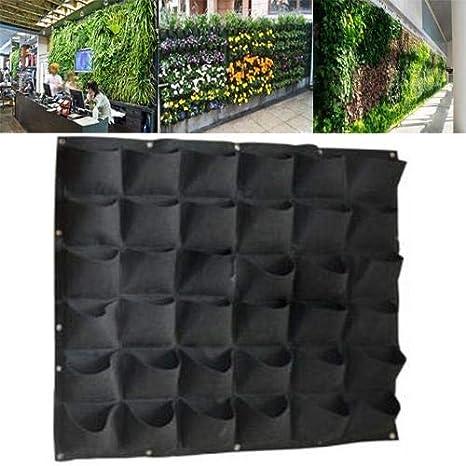 Planting Bag Delaman 72 36 Pockets Wall Hanging Felt Planter Pianta Crescente Borse Giardino Indoor Outdoor Colore : Black, Taglia : 36 Pockets