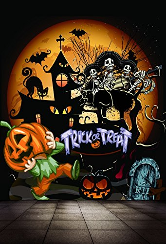 Laeacco Happy Halloween Background 5x7ft Vinyl Photography Backdrop Cartoon Scary Moon Night Haunt House Skulls Pumpkin Grimace Lantern Children Trick or Treat Ghost Trees Background Festival Decor