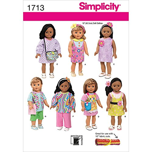 Simplicity 1713 18-Inch Doll Clothes Sewing Pattern, Size OS (One Size) Doll Wardrobe Simplicity Patterns