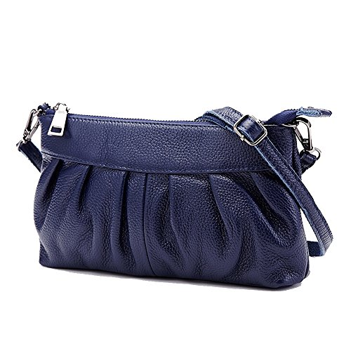 SEALINF Women's Genuine Leather Handbag Cowhide Shoulder Bag Ruched Crossbody (blue)