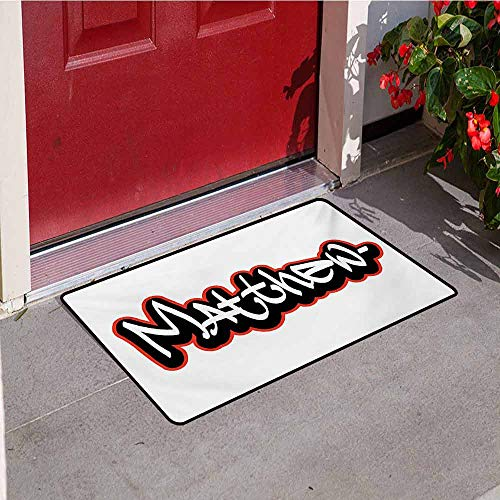 Jinguizi Matthew Universal Door mat Font Design Inspired by Hip-hop Culture and Street Art Name for Men Door mat Floor Decoration W35.4 x L47.2 Inch Vermilion Black and White Charles Street Tall Boots