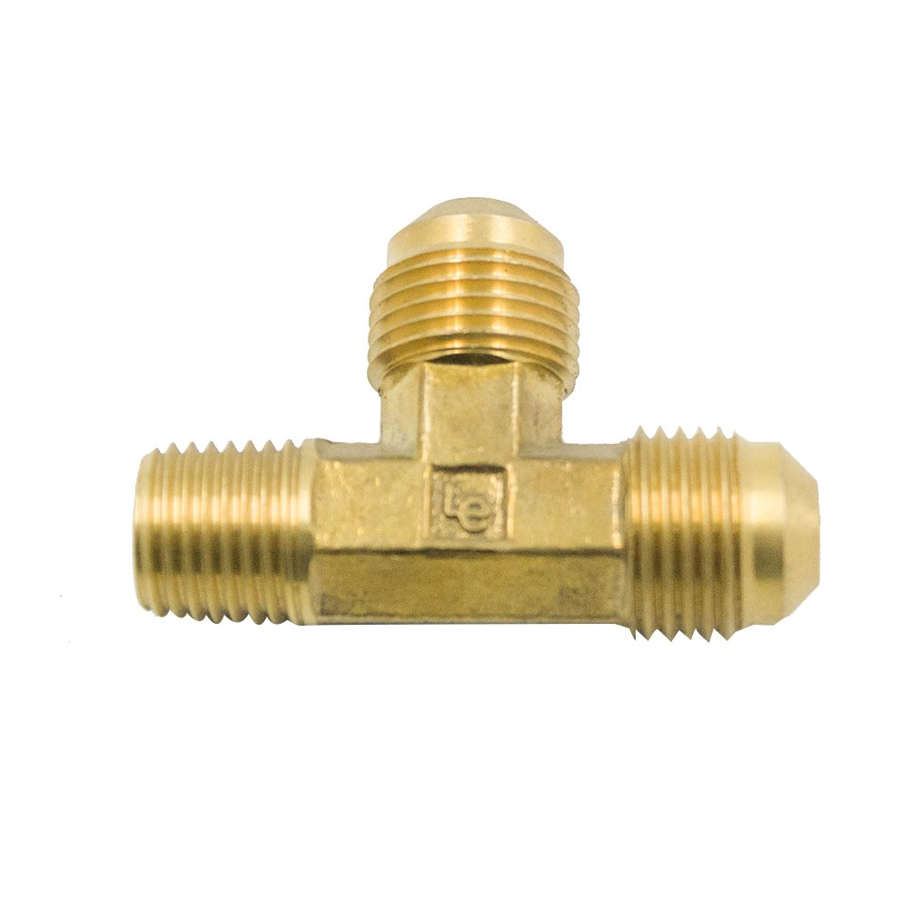 Vis Brass SAE 45 Degree Flare Tube Fitting, Male Run Tee, 1/2'' Flare x 3/8'' NPT Male x 1/2'' Flare (Pack of 200)