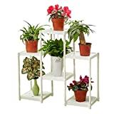 CSQ White Flower Stand, Creative 6 Tables Plant Stand Floor Shelf Living Room Bedroom Balcony Flower Pot Ornaments (Color : White)