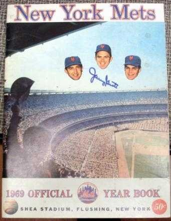 (1969 New York Mets Yearbook autographed by Tug McGraw, Tommie Agee, Ed Kranepool, Jane Jarvis, and more (1990s reproduction)