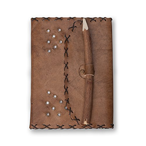 Handmade Leather Journal – 7 x 5 Unlined Diary, Travel Notebook And Sketchbook With 96 Pages Featuring Handcrafted Neem Pencil Closure – By Notewort…