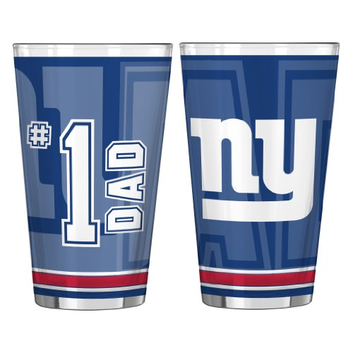 NFL New York Giants #1 Dad Pint Glass, 16-ounce, 2-Pack