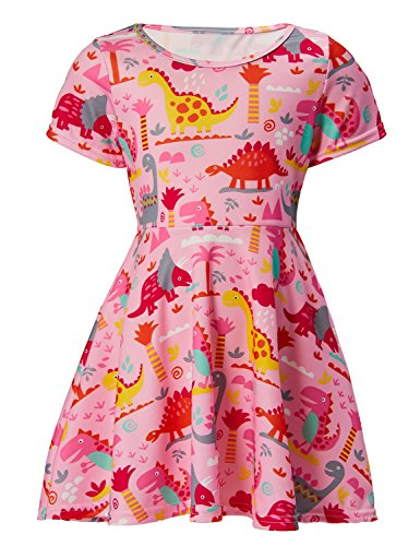 RAISEVERN Girls Short Sleeve Dress 3D Print Cute Tropical Hawaiian Coconut Tree Dinosaur Pattern Pink Summer Dress Casual Swing Theme Birthday Party Sundress Toddler Kids Twirly Skirt]()