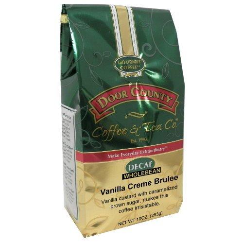 Door County Coffee, 10oz Bags (Vanilla Crème Brulee Decaf, Wholebean)