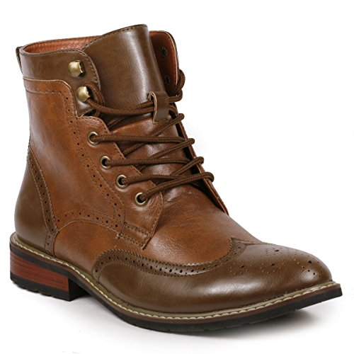 Metrocharm MET525-12 Men's Lace Up Perforated Wing Tip Formal Dress Casual Fashion Boots (10, Brown) by Metrocharm