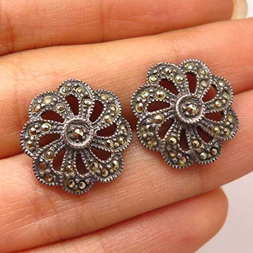 (925 Sterling Silver Vintage Real Marcasite Gemstone Floral Swirl Design Earrings )