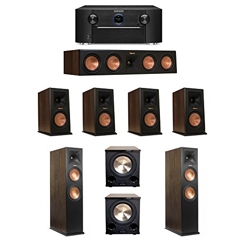(Klipsch Walnut 7.2 System with 2 RP-280FA Tower Speakers, 1 RP-450C Center Speaker, 4 RP-160M Bookshelf Speakers, 2 BIC/Acoustech PL-200 II Subwoofers, 1 Marantz SR7011 A/V)