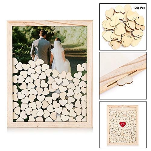 120 Pcs Hearts Unique Wedding Guest Book Alternative,Drop Top Rustic Visitors Book with Wooden Hearts, Wood Frame Drop Box Guestbooks -