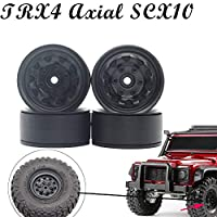 4PCS Black Metal Wheel Rims for RC Crawler Car Accessory Axial SCX10 90046 D90 TRX-4 by Vovomay