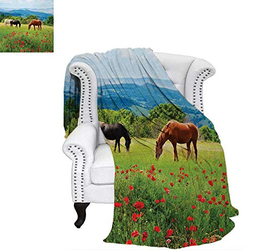 Super Soft Lightweight Blanket Various Kinds of Horses Eating Grass in Field Mountain Landscape Rural Scene Print Oversized Travel Throw Cover Blanket 90