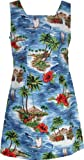 RJC Womens Red Hibiscus Island A Line Short Tank Dress in Royal Blue - XL