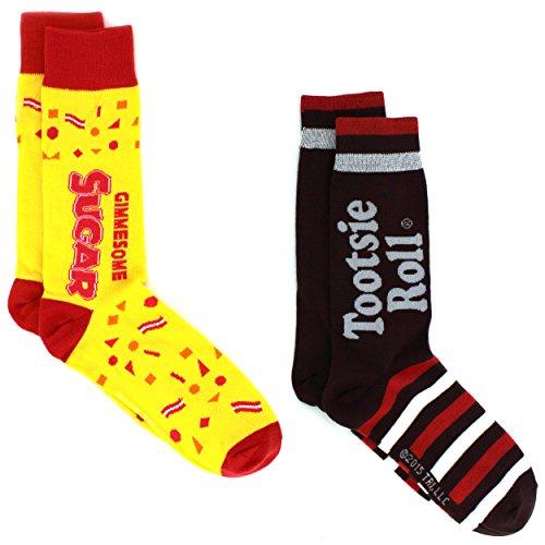 Charms Candy Tootsie Roll Teen Mens 2 pack Crew Socks (Big Kid/Adult)