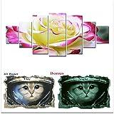 Large Canvas Wall Art Flowers Startonight HD Big Set, Glow Painting Beautiful Rose, Unique Modern Europe Framed Artwork, Bonus Gift 3D Poster Cat for Kids