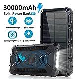 Solar Power Bank 30000mAh, Solar Charger, Qi