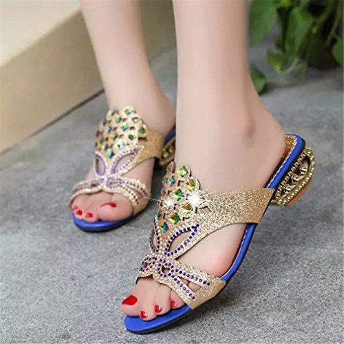 Sandales Toe En Beach Femmes Talons Open Cristaux Chaussures Pu De Flops Chunky Blue Lumino Strass Cuir Flip Mode Party Occasionnels fXan5qxCf