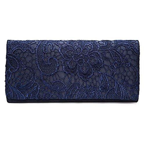 U-Story Women's Elegant Floral Lace Evening Party Clutch Bags Bridal Wedding Purse Handbag (Navy Blue)