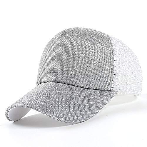 Glitter Baseball Cap Sequins Mesh Trucker Baseball Cap Snapback Hat Sun Caps for Women Girl Silver