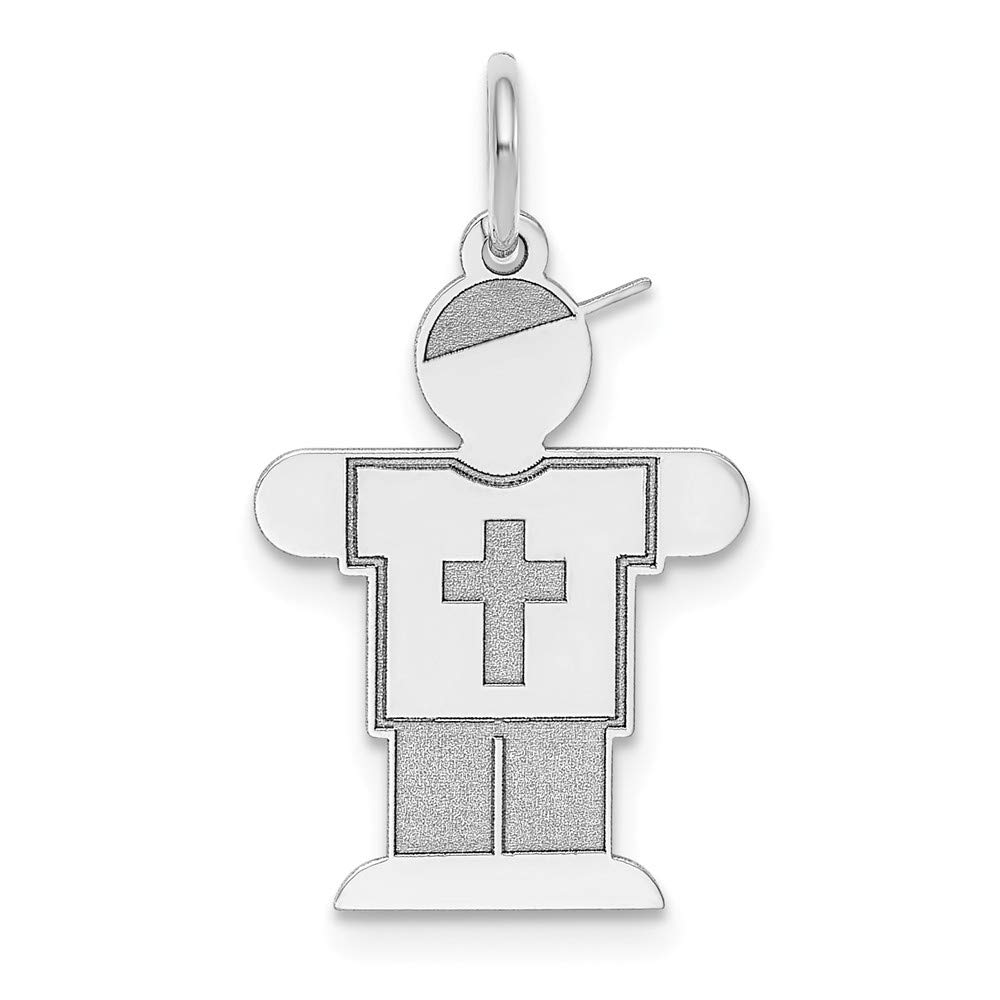 The Kids Collection 14K White Gold Laser Cut Kid Boy in Cross Shirt Charm Pendant