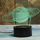 Saturn's Rings 3D Illusion Lamps, Elstey 7 Color Changing Touch Table Desk LED Night Light Great Gifts for Boys