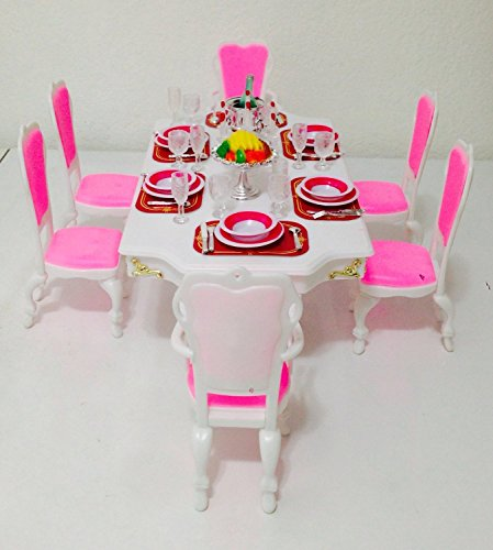 Barbie Size Dollhouse Furniture-Grand Dining Room Play Set