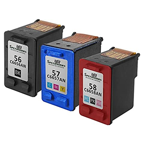 Speedy Inks - 3PK Remanufactured Replacement for HP 56 HP 57 HP 58 C6656AN C6657AN C6658AN 1 Black + 1 Color + 1 Photo Black Ink (57 Hp Ink Cartridge)