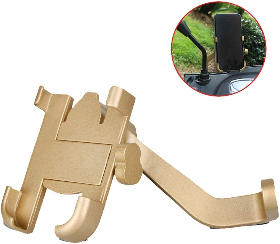 YSNBM Rearview Mirror Mobile Phone Holder Aluminum Alloy Motorcycle Phone Stand Shockproof Bracket Fixed Riding Navigation Photo Bracket Mobile Phone Stand Color : Gold
