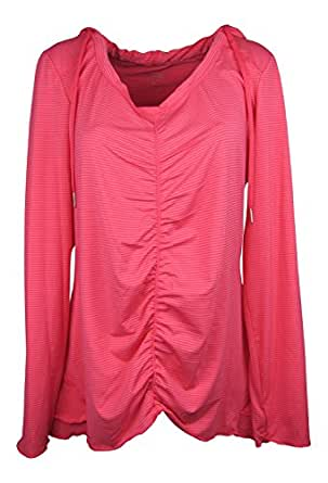 Calvin Klein Women's Ruched-Front Hooded Pullover Daquiri Large