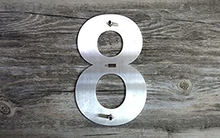 Number 0 Zero Brushed Stainless Steel QT Modern House Number Easy to Install and Made of Solid 304 Floating Appearance 15.2 Centimeter