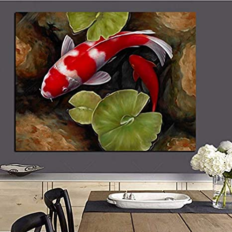 Amazon Com Zxianc Print Chinese Koi Fish Lotus Feng Shui Animal Landscape Canvas Painting Wall Art Picture For Living Room Moder Sofa Home Decor 50x70cm Frameless Posters Prints
