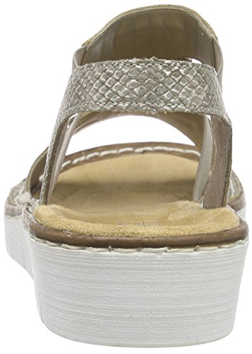 Rieker 60062 Women Open Toe - Sandalias Mujer Beige - Beige (fango-silver / 64)