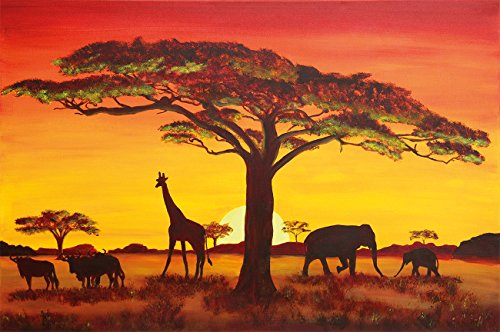 Sunset in Africa wallpaper - Africa sunset - Africa safari wallpaper - XXL wall decoration 55 Inch x 39.4 Inch
