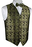 Brand Q Men's Tuxedo Vest and Bow-Tie Set-Olive Paisley-M